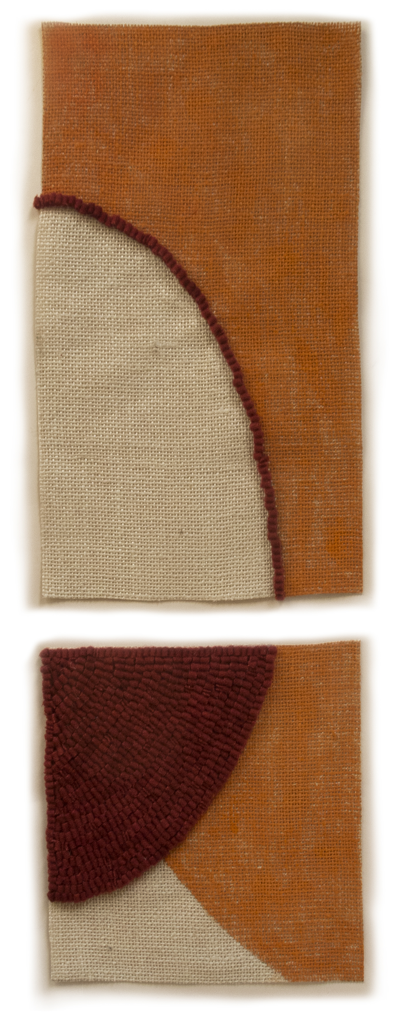 Altoon Sultan: 2013 #18, 2013, hand dyed wool and egg tempera on linen, multi part 2 panels,2 panels, 12 3/4 x 8, 8 x 8