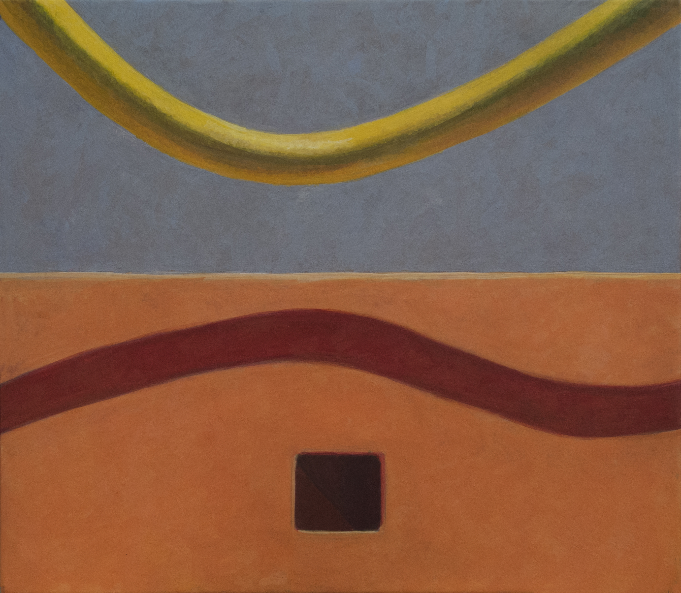 Altoon Sultan: Curves and Square, 2013, egg tempera on parchment, 6 1/2 x 7 1/2
