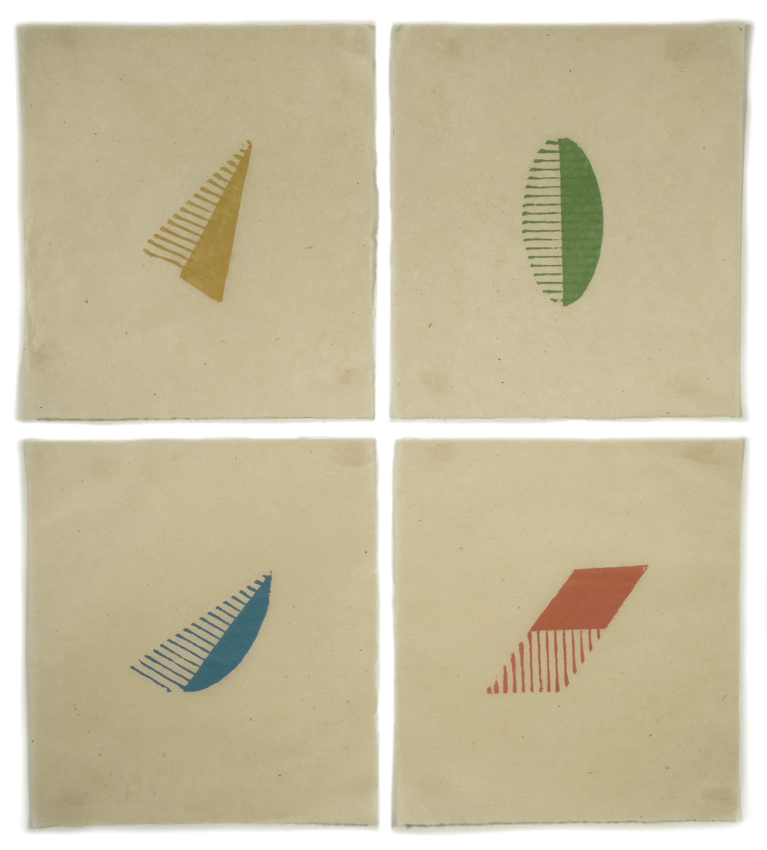 Altoon Sultan: Four Shapes Four Shapes, 2012, print, image variable: ca. 5 x 6, paper 4 pieces, 14 x 12 1/2 each, Edition size 5, Artist\'s Proofs 1, paper gampi smooth