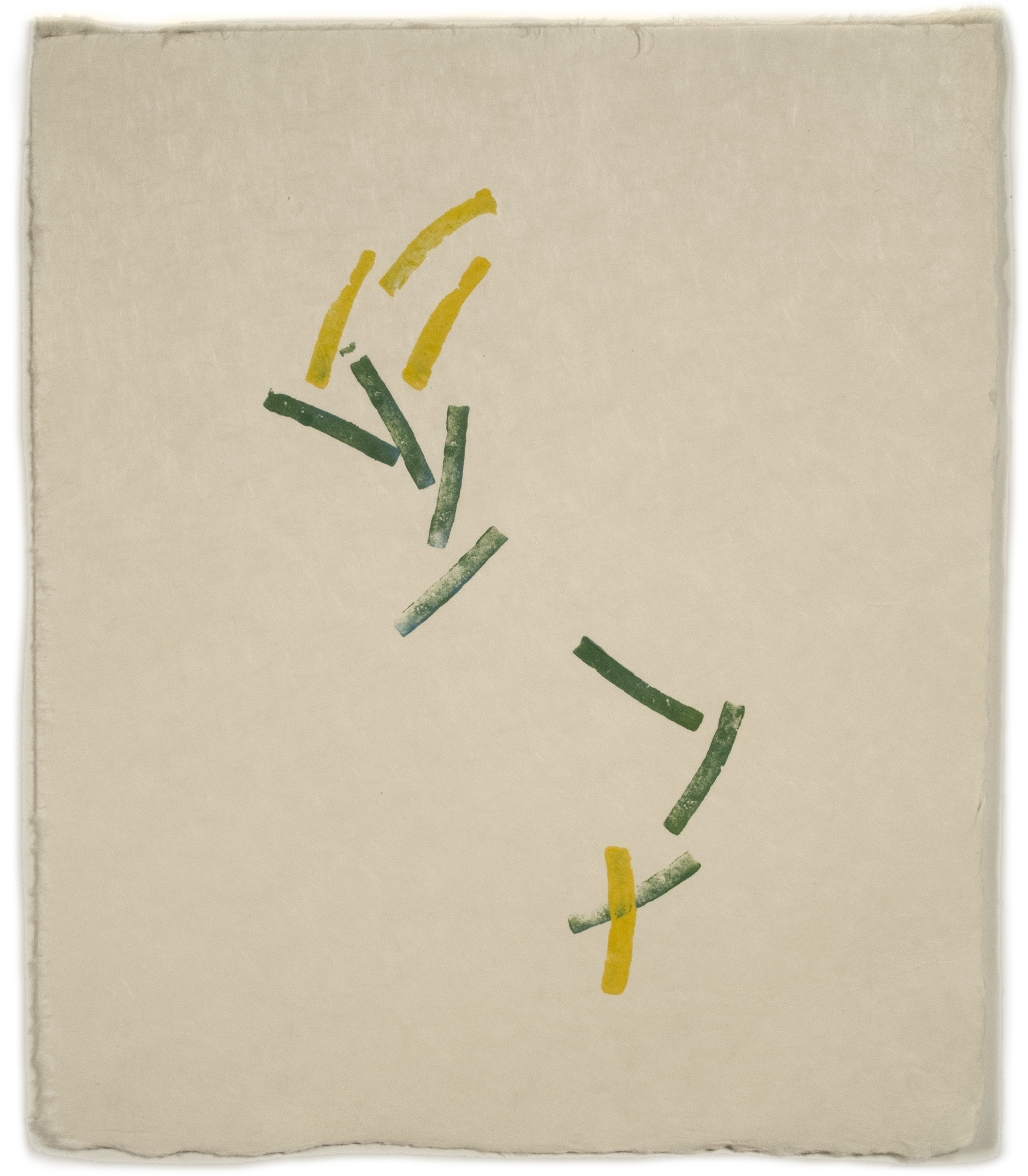 Altoon Sultan: Green and Yellow Lines, 2012, print, 13 x 11, Paper from Cone studio