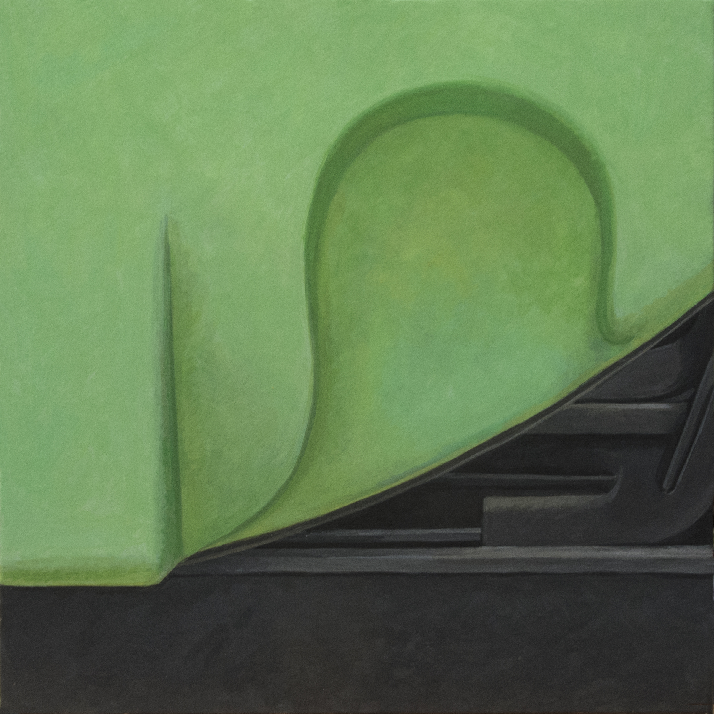 Altoon Sultan: Green Curve, 2014, egg tempera on parchent, 7 1/2 x 7 1/2
