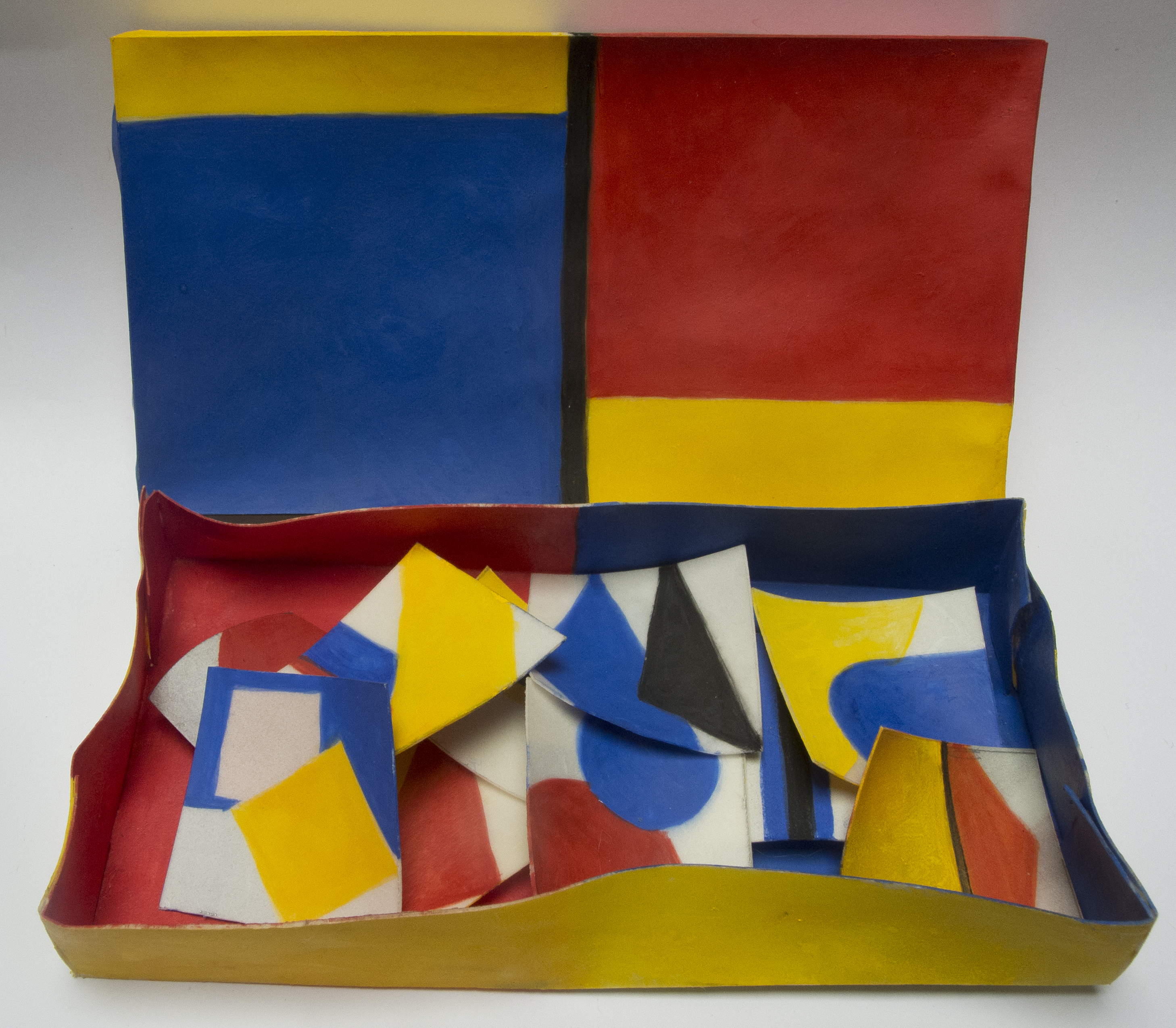 Altoon Sultan: Red Yellow Blue and Black, 2013, egg tempera on parchment, box 2 3/4 x 5 x 3/4 x 7/8